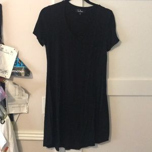 Black T Shirt Dress with Pocket